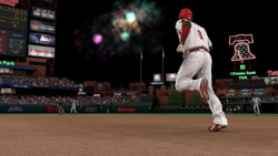 The Phillies' Ryan Howard lighting off some fireworks at Citizens Bank Park MLB 10: The Show