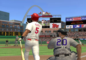 Albert Pujols swinging for the fence in St.Louis in MLB 10: The Show