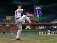 The Phillies Cole Hamels making starting his move towards home plate in MLB 10: The Show