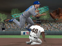 The Dodgers turning a double play on the Giants at AT&T park in MLB 10: The Show