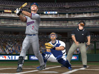 Joe Mauer watching a ball sail in MLB 10: The Show