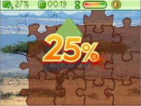 Timed puzzle with percent done from Jigapix: Wonderful World