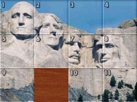 Mt. Rushmore in a sliding tile puzzle from Jigapix: Wonderful World