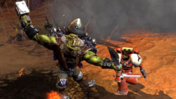 Space Marine in one-on-one fight with an Ork in Warhammer 40,000: Dawn of War II