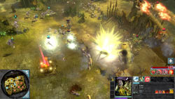 In-game large scale battle seen from above in Warhammer 40,000: Dawn of War II