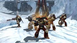 Space Marine squad in formation in Warhammer 40,000: Dawn of War II: Chaos Rising