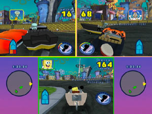 Accelleration, drive points and damage seen during a race in Spongebob's Boating Bash