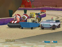 A cutscene showing Patrick, Spongebob and Sandy Cheeks racing in Spongebob Spongebob's Boating Bash