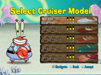 Boat customization screen from Spongebob's Boating Bash