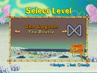 Race course selection screen from Spongebob's Boating Bash