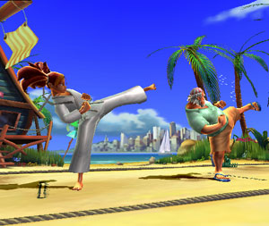 Female player character training with her sensei in All Star Karate