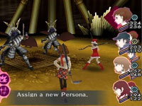Assigning a new persona to a party member during combat in Shin Megami Tensei: Persona 3 Portable