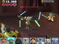 Yoda battling General Grievous in LEGO Star Wars III: The Clone Wars for DS