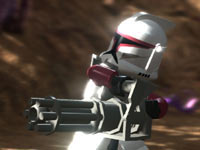 Close-up of clone soldier with heavy weapon from LEGO Star Wars III: The Clone Wars