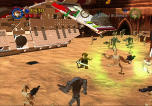 Anakin Skywalker using Force powers against the droid army in LEGO Star Wars III: The Clone Wars for Wii