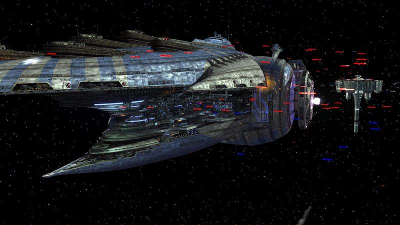 space battle in progress from LEGO Star Wars III: The Clone Wars Wii