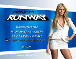 Project Runway the Video Game title screen
