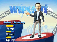 In-game caricatures of commentator John Henson from Wipeout: the Game