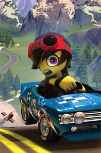 Racer trying to outrun a missle in ModNation Racers for PSP