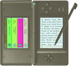 A black DS flipped sideways to read books featured on 100 Classic Books