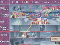Timeline, rooms and investigation progress map from Disgaea Infinite