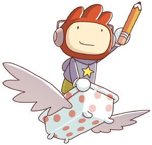 Maxwell in his flying bathtub in Super Scribblenauts