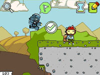 Maxwell facing a challenge in Super Scribblenauts