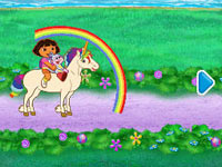 Dora riding a unicorn in Dora the Explorer: Dora's Big Birthday Adventure