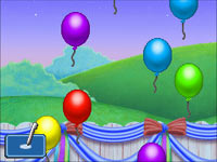 Balloon popping mini-game from Dora the Explorer: Dora's Big Birthday Adventure