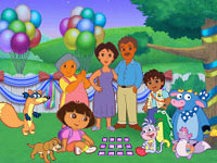 All the Dora the Explorer character from Dora the Explorer: Dora's Big Birthday Adventure