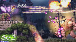 Manic action against various enemies in Deathsmiles
