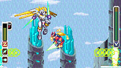 Zero fighting an enemy in the air in Mega Man Zero Collection