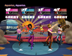 4-player multiplayer screen from Dance on Broadway while doing a song from the musical Hair