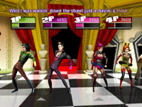 4-player multiplayer screen from Dance on Broadway while doing a song from the musical The Rocky Horror Picture Show