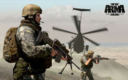 Infantry supported by helicopter cover in Arma II: Operation Arrowhead