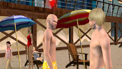 Beach scene from The Sims 3 for Wii