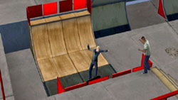 Skaters at an indoor skate park in The Sims 3 for Wii