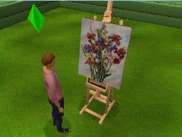 A sim painting in The Sims 3 for DS