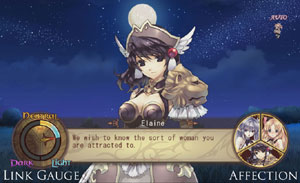 Example of dating sim gameplay in Record of Agarest War