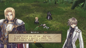Character interaction during combat in Record of Agarest War