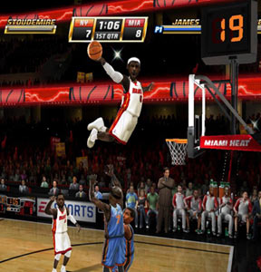 Lebron James in a freshly minted Miami uniform skying over Eastern Conference rivals
