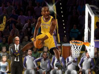 Kobe Bryant all alone above the rim as Phil Jackson looks on in NBA JAM