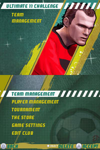 Ultimate 11 functionality card featuring Wayne Rooney from FIFA Soccer 11 for DS