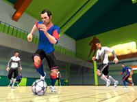 Taking control during an indoor game in FIFA Soccer 11 for Wii