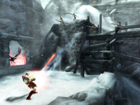 Kratos using the new Eye of Atlantis shock weapon in God of War: Ghost of Sparta