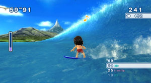 Surfing action in Go Vacation