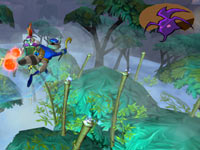 Sly Cooper collecting orbs as he platforms through the trees in The Sly Collection