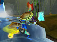 Sly Cooper battling a enemy in the water in The Sly Collection