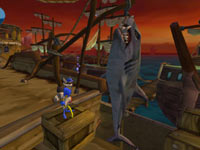 Sly Cooper posing with a massive shark he just caught in The Sly Collection