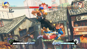 Yun hammering Chun-li with a kick in the air in Super Street Fighter IV: Arcade Edition